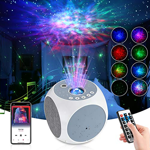 LED Galaxy Night Light Projector, Starry Sky Sleep Aid, TAOPE 8 Mode Nebula Sky Projector with Star/Rotating Ocean Wave/Bluetooth Speaker/Timer/Remote Control, Adjustable Speed/Brightness for Room