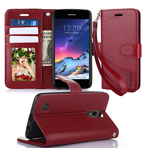 TabPow LG Aristo Wallet Case - Folio Series, Flip PU Leather with Kickstand, ID & Credit Card Slot Holder For LG Phoenix 3 / LG K8 2017 / LG Fortune / LG Risio 2 - Wine Red