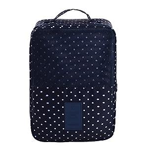 iSuperb Shoe Bag Waterproof Travel Bag Shoe Toe Organizer Case Holder 3 Pairs of Shoes (Dark Blue with Polka Dot)