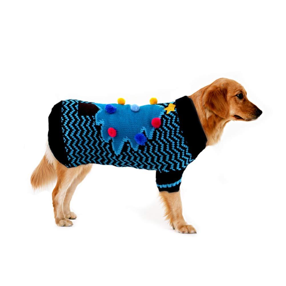 S Cuteboom Christmas Tree Pet Sweater Dog Winter Warm Costume Sweatshirt Small to Medium Dogs Cat Puppy, bluee(S)
