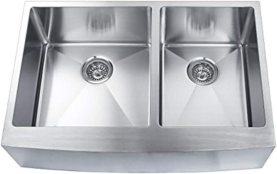 BOANN SKR3322D2 Hand Made Skirt Front R15 60 40 Double Bowl 33 x 22 1 4-Inch Undermount 304 Stainless Steel Kitchen Sink, 16-Gauge