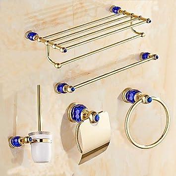 BSF contemporain diamants Bleu Doré Laiton 5 pcs accessoire de salle de bain Ensemble de barre de serviette de Porte-