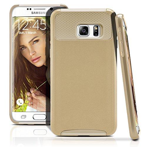 Galaxy S6 Edge Plus Case, MagicMobile Hybrid Hard Shockproof Rubber Case for Samsung Galaxy S6 Edge Plus Dual Layer Slim Armor Impact Shock Resistant Case for Galaxy S6 Edge Plus (Champagne Gold)
