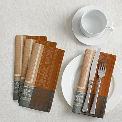 Benson Mills Gathering Engineered Jacquard Tablecloth Matched Napkins (18'' X 18'' Napkins Set of 4, Taupe) For Harvest, Fall and Thanksgiving by Benson Mills