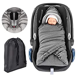 Zamboo Universal Car Seat Baby Blanket/Soft Thermo Fleece Padded Car Seat Wrap/Smart Winter Footmuff Alternative with Velcro Fastener and Storage Bag – Grey