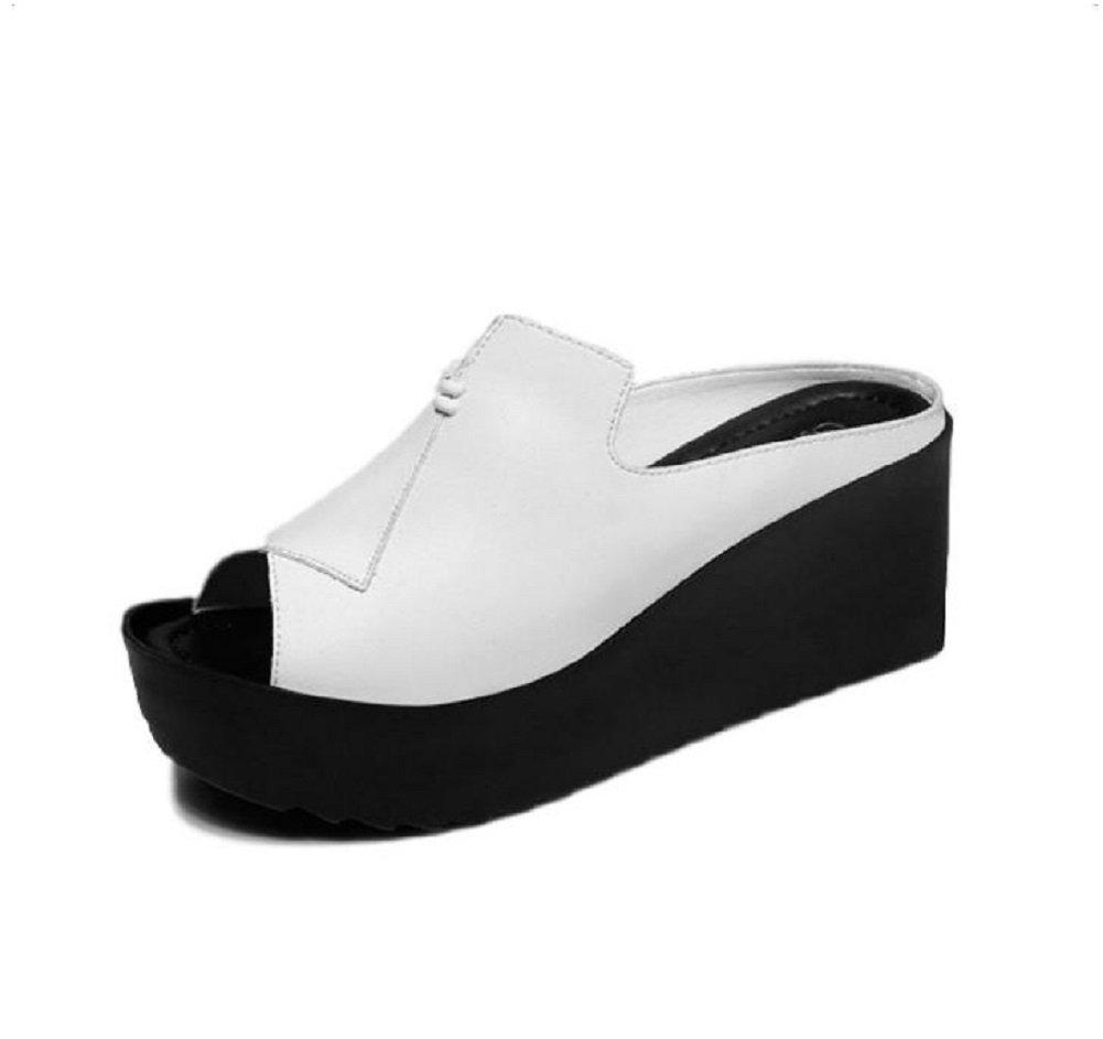 Kuro&Ardor Sandals for Women Wedge Heel Bicolor Lightweight Platform Comfort Shoes Heel Summer (7.5 B (M) 25cm, White)
