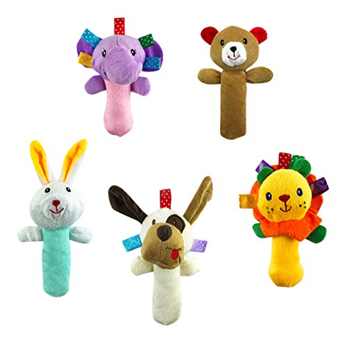 (Liberty Imports 5 PCS Set Cartoon Stuffed Animal Baby Soft Plush Hand Rattle Squeaker Sticks for Toddlers)