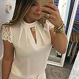 Women Casual T Shirt Chiffon O-Neck Short Sleeve Splice Lace Crop Top Blouse