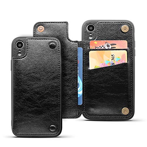 REDTREE Wallet Case for iPhone XR Leather Protective Case with Card Slot Holder Double Magnetic Shockproof Flip Cover for iPhone XR 6.1 inch (Black)