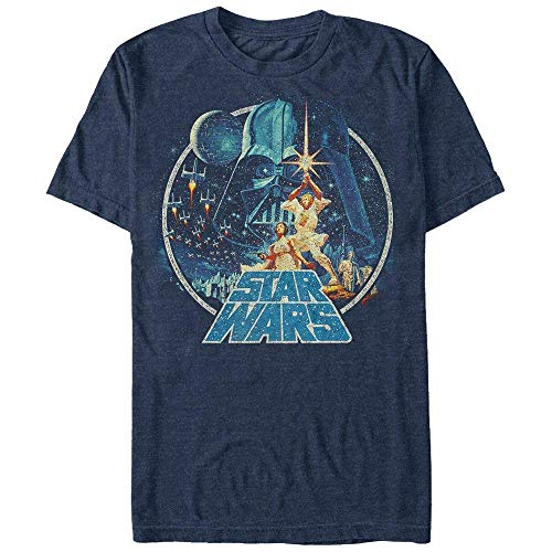 Star Wars Men's Vintage Victory Graphic T-Shirt, Navy Heather, M ()
