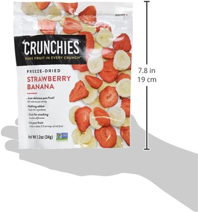 CRUNCHIES Crujiente crujiente de fresa y plátano 100% de todas las frutas naturales liofilizadas, 1.2 onzas (6 cuentas)