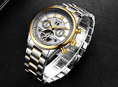 Amazon.com: Luxury Brand LIGE Fashion Business Automatic Machinery Watches Men Full Steel Waterproof Watch Man Clock relogio Masculino 30 (Silver Black): ...