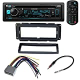 Kenwood Aftermarket Car Radio Receiver Stereo CD Player Dash Install Mounting Kit + Dash Mounting Install KIt + Stereo Wire Harness+ Radio Antenna For Select Chrysler Dodge Jeep Vehicles