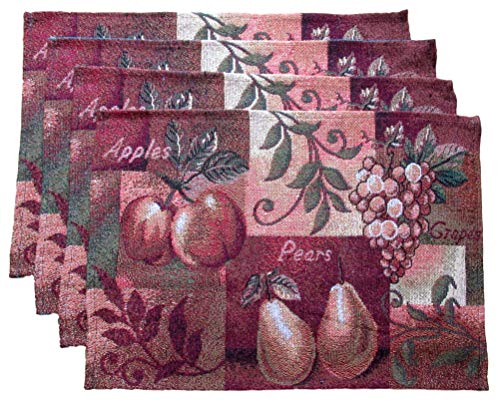 Mabelle Autumn Harvest Woven Place Mats - Pumpkins, Leaves, Owls - Set of 4 (Fruit Harvest - Apples, Pears, and Grapes) from Mabelle