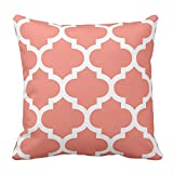 Decorative Square Coral Pink White Moroccan Quatrefoil Pillowcases Protector Zipper With Design Two Sides 18 x 18 Inches