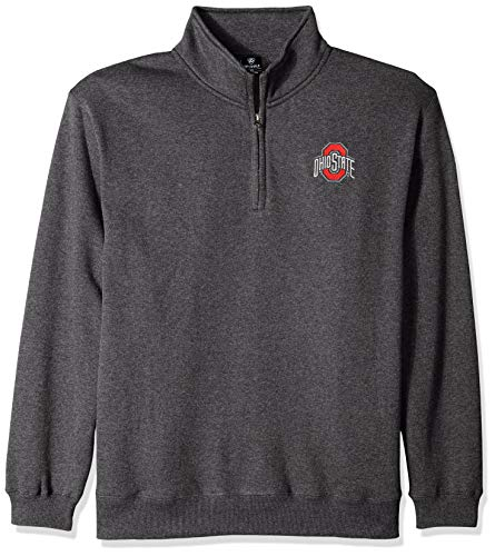 Top of the World NCAA Men's Ohio State Buckeyes Dark Heather Classic Quarter Zip Pullover Charcoal Heather - Classic Ohio Pullover