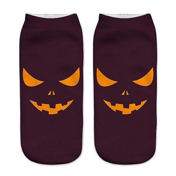 VJGOAL Mujer Otoño e Invierno Calcetines de moda casual 3D Calabaza de Halloween Impresión Medias medias