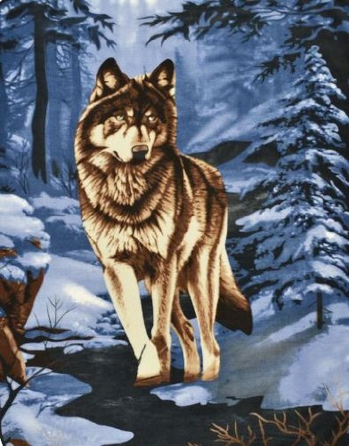 Trail Crest Real Life Wolf Fleece Throw Blanket Gift Idea