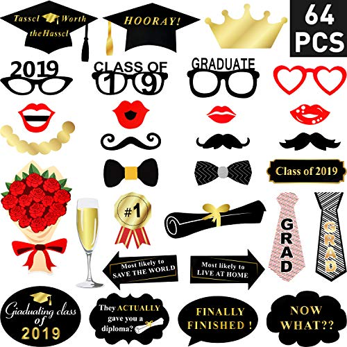 Zhanmai 64 Count Grad Photo Booth Props Large Graduation Photo Booth Props Set with Sticks and Stickers, Great Class of 2019 Props Decorations for Grad Party Supplies -