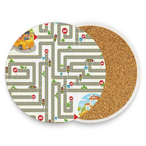 LoveBea Cartoon Maze Illustration Coasters, Prevent Furniture from Dirty and Scratched, Round Cork Coasters Set Suitable for Kinds of Mugs and Cups, Living Room Decorations Gift 1 -
