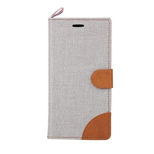 Funda Samsung Galaxy J3 Billetera Carcasa, Forhouse Patrón de Mezclilla Ligero Flip Prima PU Cuero Wallet Caso con [Kickstand][Ranuras para Tarjetas y Caja][Cierre Magnético] Delgado Fit Anti-Arañazos Beige
