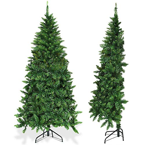 CLESH Christmas Tree Decoration PVC Pre-Lit Green Artificial Half Xmas Tree Family Room Home Décor Small Holiday Season Indoor Outdoor 250 LED Lights Tree Durable Stand 6 Ft