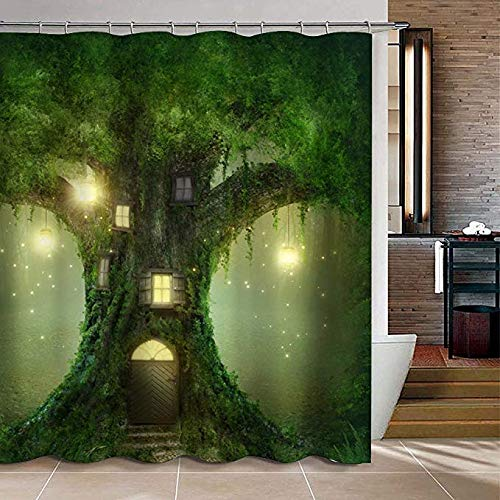 Uphome Big Tree House in The Light Bathroom Shower Curtain - Green and Yellow Waterproof Polyester Fabric Bathroom Curtain Ideas (72