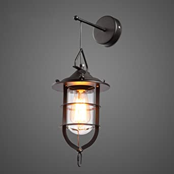 jiay oujia industriales de 1 luz metal negra jaula Clear Glass ...