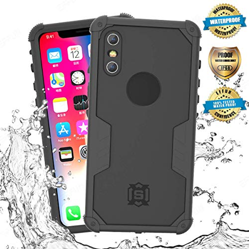 EFFUN iPhone Xs Waterproof Case, iPhone X Waterproof Case, IP68 Waterproof Shockproof Snowproof Dirtproof Fully Sealed Underwater Cover with Built-in Screen Protector for iPhone Xs/X (5.8 inch) Black