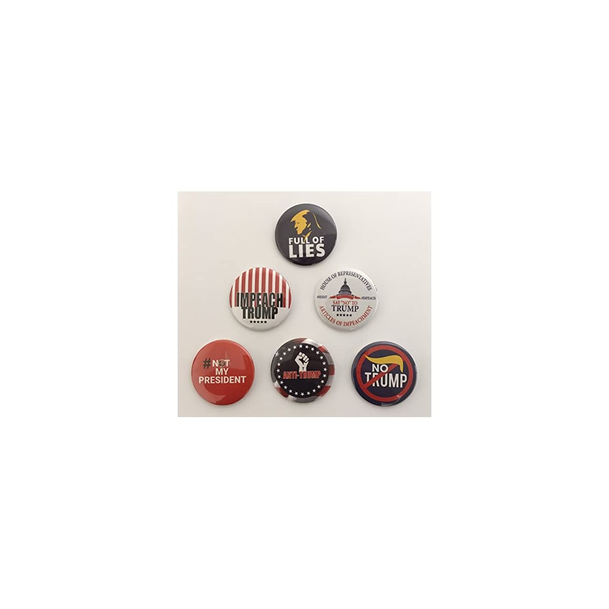 Complete Set Anti Trump Campaign Button Set of 6 (NOTRUMP-ALL)
