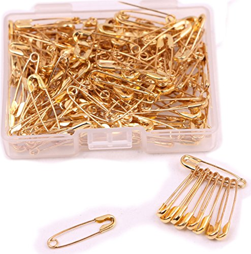 Shapenty Mini Metal Clothing Accessories Trimming Fastening Clip Button Tool Tiny Sewing Craft Safety Pins, 18x5mm, 160PCS (Gold)