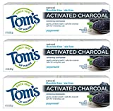 Tom's of Maine Activated Charcoal Toothpaste, Natural Toothpaste, Peppermint, Fluoride Free, 4.7 oz 3 Pack