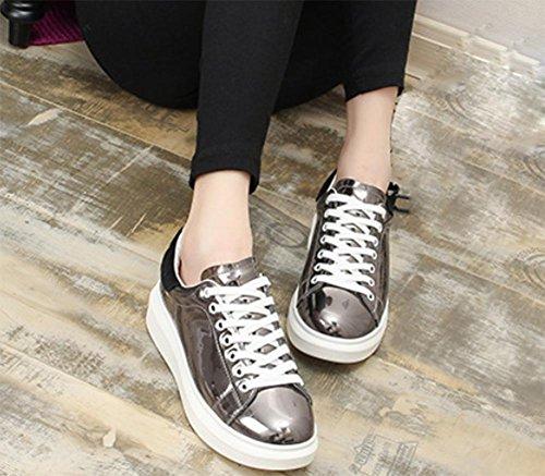 del corteza Silver Ms del zapatos casuales Spring de gruesa elevadores mollete la zapatos movimiento de zapatos zapatos estudiante 44UqBZ