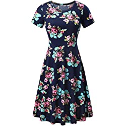 HUHOT Women Short Sleeve Round Neck Summer Casual Flared Midi Dress (XL