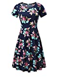 HUHOT Women Short Sleeve Round Neck Summer Casual Flared Midi Dress (XL, Navy Peony)