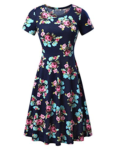 Women Short Sleeve Round Neck Summer Casual Flared Midi Dress (L, Navy Peony)