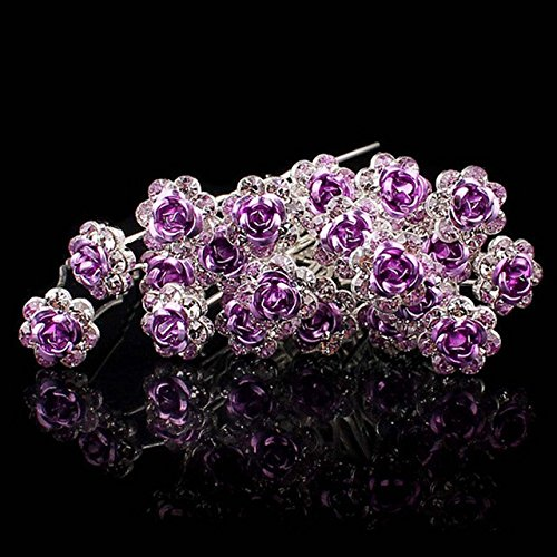 Buckdirect Worldwide Ltd. 20pcs Wedding Crystal Diamante Rose Flower Hair Clip Hair Accessories violet