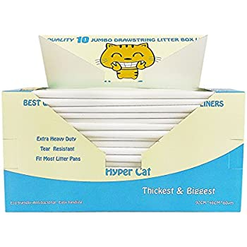 Hyper Cat 10 Counts Extra Heavy Duty Jumbo Size Cat Pan Liners With Green Drawsting Cat Box Liners Anti-Microbial Tear Resistant