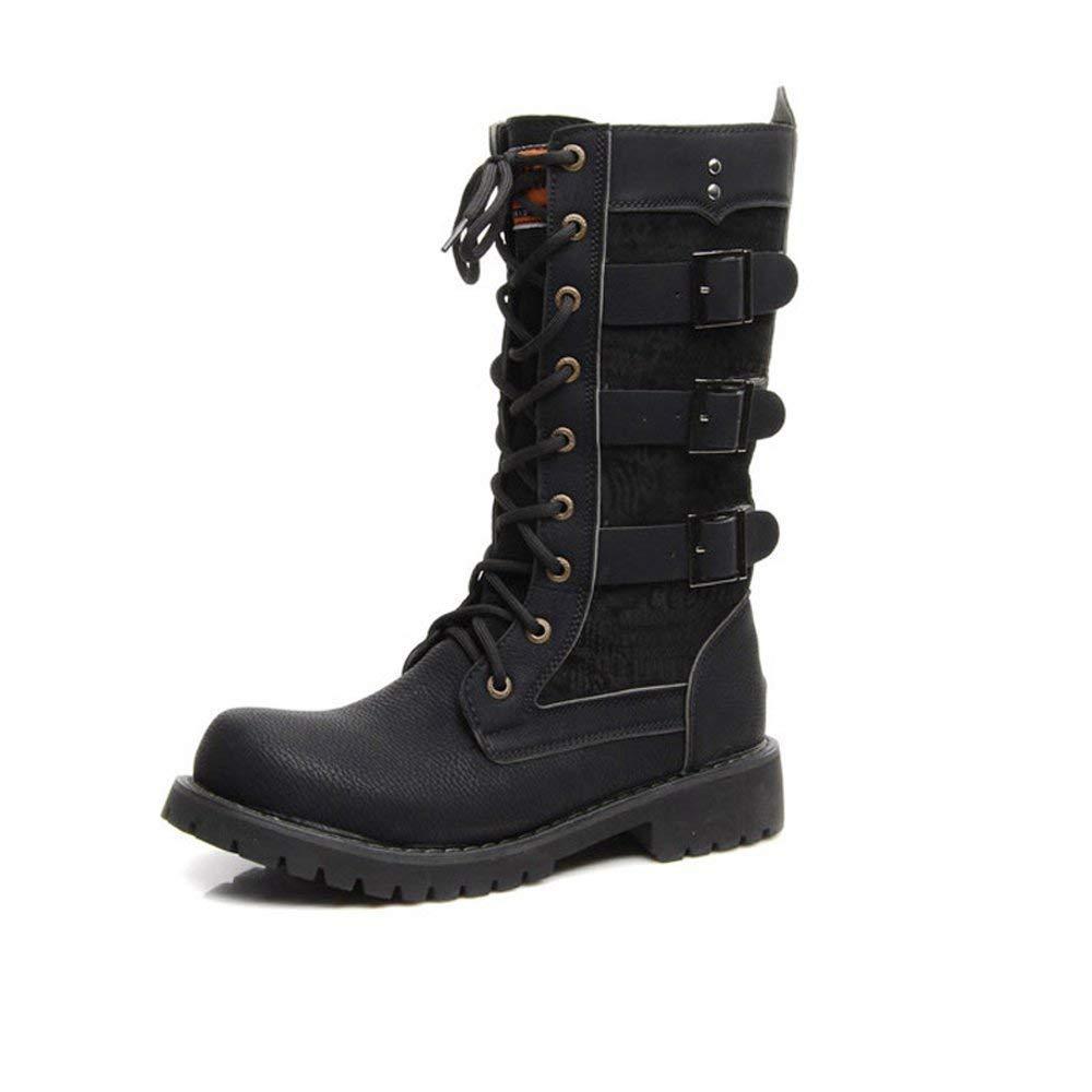 Oudan Männer Schuhe Schnürung Gürtelschnalle PU-Leder Mitte Kalb Kampfstiefel für Herren Laufen eine Größe größer (Farbe   Schwarz, Größe   44 EU) (Farbe   Schwarz, Größe   45 EU)