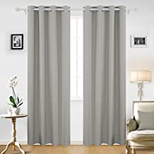Deconovo Thick Microfiber Grommet Top Thermal Insulated Blackout Curtains With Triple-pass Coating Back Layer, 52x84 Inch, 1 Pair, Light Grey