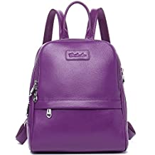BOSTANTEN Women Leather Backpack Purse Satchel Shoulder School Bags for College Purple Small