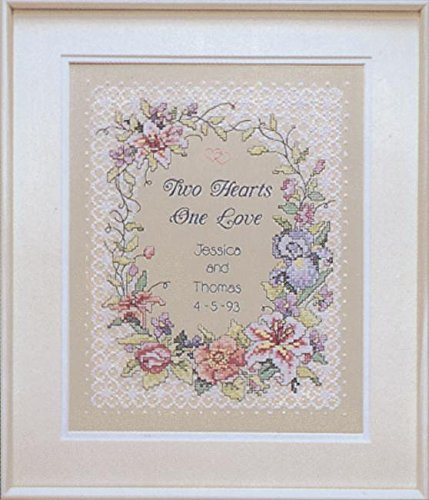 Two Hearts Wedding Record Stamped Cross Stitch Kit-11X14 Dimensions 3122