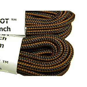 54 Inch Brown-black proBoot (tm) Rugged Wear Boot Laces Long Lasting Shoelaces (2 Pair Pack)