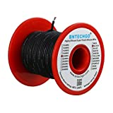 BNTECHGO 20 Gauge Silicone Wire Spool Black 50 feet Ultra Flexible High Temp 200 deg C 600V 20AWG Silicone Rubber Wire 100 Strands of Tinned Copper Wire Stranded Wire for Model Battery Low Impedance