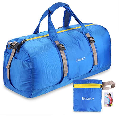 Homdox 40L Foldable Duffle Bag for Gym or Luggage , Made of Tear-resistant Waterproof Nylon , Lightweight (Blue with Yellow Zipper)