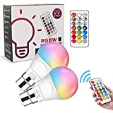 LED Colour Changing Light Bulb Bayonet [2 Pack], B22 6W Energy Saving RGB Night Bulb Lamp with Remote Control, Warm White Dimmable Bulbs for Home Party Mood Ambiance Lighting, 6W (Equivalent to 40W)