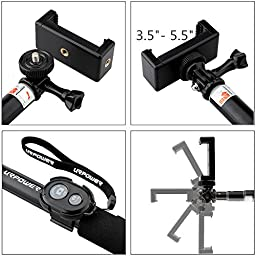 URPOWER S3 Monopod Selfie Stick for Digital Camera, Tablets & Smartphone Select Model - Black