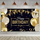 Happy 30th 40th 50th 60th Birthday Party Decoration, Extra Large Fabric Sign Poster for Happy Birthday Backdrop Background Banner, Happy Birthday Black Gold Party Supplies