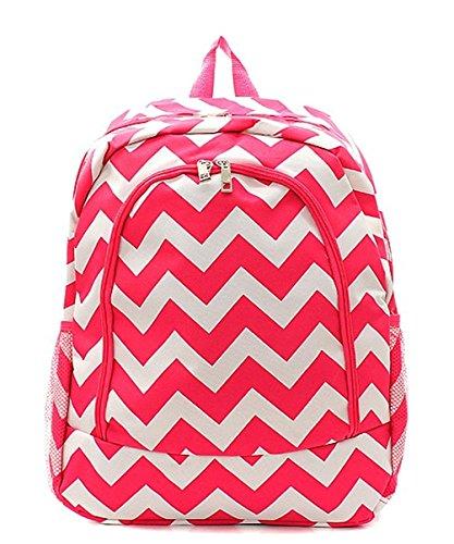 Children's School Backpack 2 (Chevron Hot Pink White)