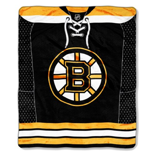 NHL Boston Bruins Jersey Plush Raschel Throw, 50